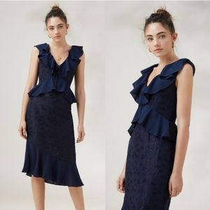 NWT Finders Keepers Kindred Midi Dress Navy 223